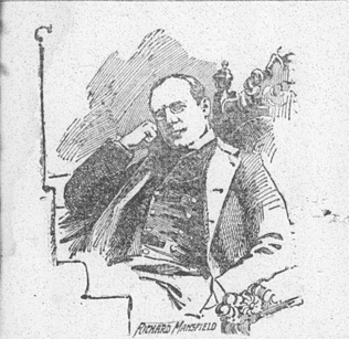 sketch of Richard Mansfield seated
