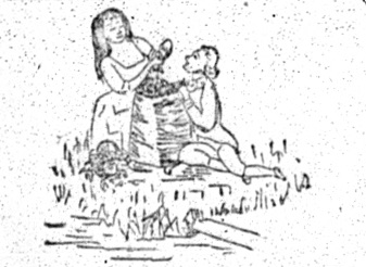 sketch of maiden preparing to crown a young man