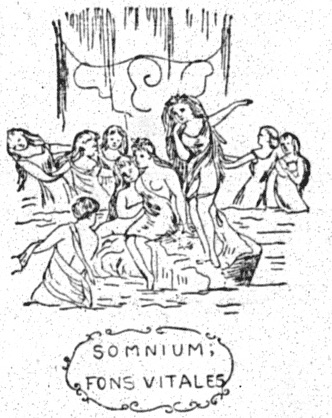 "sketch of curtain with nymphs and motto reading ""SOMNIUM; FONS VITALES"""