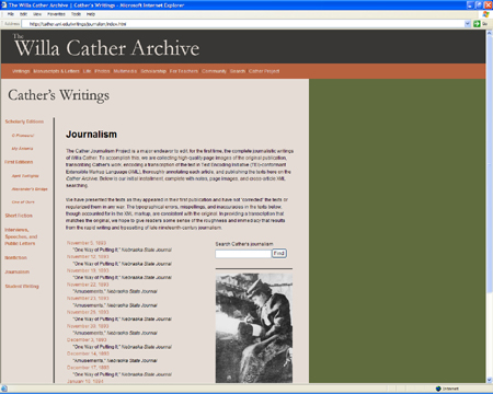 Screenshot of the Willa Cather Archive
