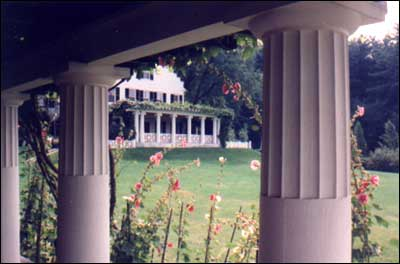 Image of The St. Gaudens house, viewed from studio porch at the St. Gaudens National Historic Site in Cornish, New Hampshire