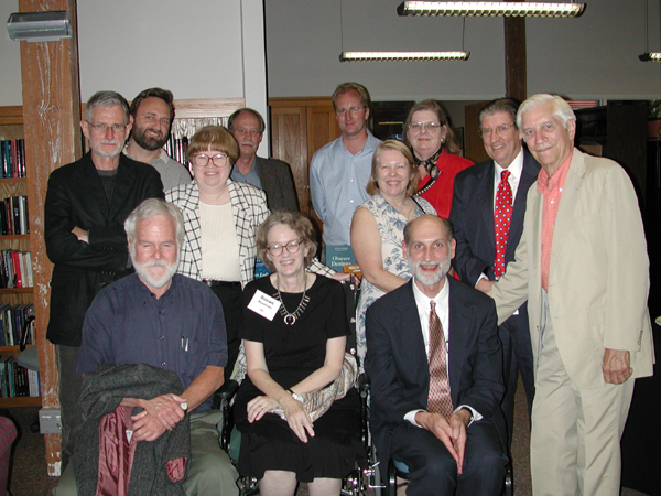 Image of Bottom row: Charles Mignon, Susan Rosowski, Former University of Nebraska Press Director Paul Royster; Second row: John Murphy, Ann Moseley, Kari Ronning, Former Vice Chancellor of Academic Affairs Richard Edwards, Robert Knoll. Back row: Mark Kamrath, Tom Quirk, Guy Reynolds, and Ann Romines.
