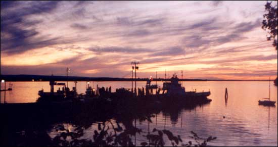 Image of Sunset at the ferry docks, Grand Isle, Lake Champlain. Photo by Sherrill Harbison.
