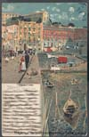 Image of front of postcard showing quay at Naples, Italy