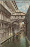 Image of postcard showing canal and Bridge of Sighs in Venice, Italy