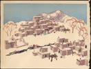 Image of front of postcard showing an artistic rendering of a pueblo in the American       southwest covered in snow.