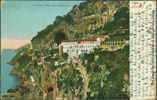 Image of front of postcard showing Amalfi, Italy